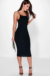 Boohoo Ribbed Open Back Midi Bodycon Dress Black