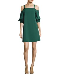 Tibi Drape Twill Cold Shoulder 3 4 Sleeve Shift Dress Green