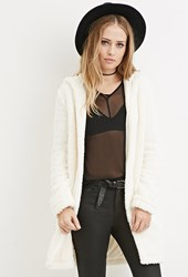 Forever 21 Hooded Faux Shearling Coat Cream
