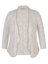 Chesca Stretch Lace Bead Trim Shrug Ivory