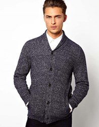 Selected Cardigan With Shawl Neck Navy Blue