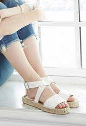 Forever 21 Faux Leather Espadrille Sandals Cream