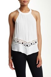 Astr High Neck Crochet Inset Tank Blouse White