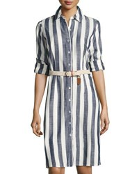 Neiman Marcus Tanner Striped Shirtdress Blue White