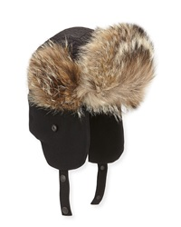 Moncler Fur Trim Trapper Hat Black