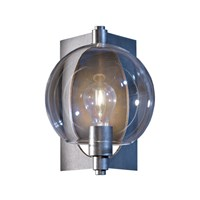 Hubbardton Forge Pluto Outdoor Sconce Burnished Steel Clear Silver
