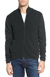 Zachary Prell Men's Zip Front Merino Cardigan Military Green