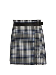 Alexander Mcqueen Plaid Pleated Skirt Grey Multi