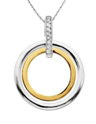 Lord And Taylor Sterling Silver 14K Yellow Gold Diamond Pendant Necklace Two Tone