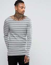 Asos Rib Stripe Extreme Muscle Long Sleeve T Shirt With Boat Neck Grey