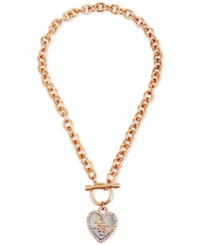 Guess Two Tone Crystal Heart Pendant Toggle Necklace Gold