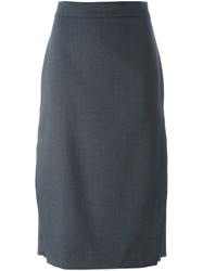 Brunello Cucinelli Knee Length Pencil Skirt Grey