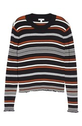 Plus Size Bp. Ribbed Lettuce Edge Stripe Sweater Black Dahlia Multi Stripe