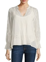 Love Sam Victorian Pleated Lace Inset Blouse Ivory