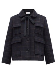Red Valentino Redvalentino Metallic Check Wool Blend Jacket Navy Multi