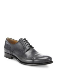 A. Testoni Leather Cap Toe Lace Up Shoes Lead