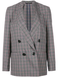 Paul Smith Check Double Breasted Blazer Grey