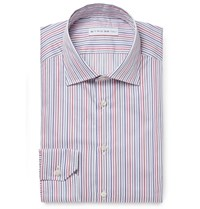 Etro Mercurino Slim Fit Striped Cotton Shirt Red