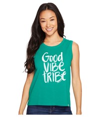 Life Is Good Vibe Tribe Muscle Tee Jungle Green Women's Sleeveless Olive