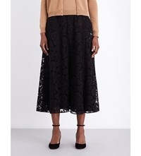 Valentino Flared Floral Lace Midi Skirt Blk