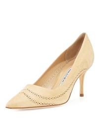 Manolo Blahnik Denna Perforated Suede Pump Beige