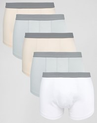 Asos Trunks With Grey Textured Waistband 5 Pack Multi