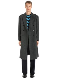 Massimo Piombo Virgin Wool Houndstooth Coat Grey