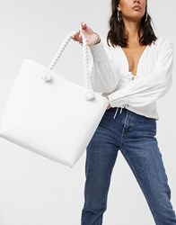 Glamorous Tote Bag With Rope Handle Detail In White Croc