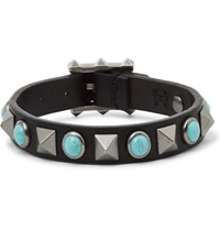 Valentino Leather Silver Tone And Turquoise Bracelet Black