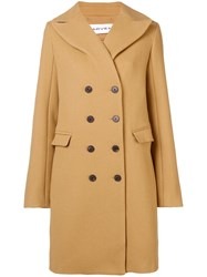 Carven Double Breasted Coat Nude And Neutrals