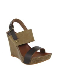 Mia Foxy Leather Slingback Wedge Sandals Brown Natural