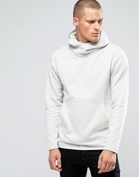 Jack And Jones Hooded Sweat With Cross Over Neck Detail Cream Beige