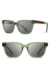 Men's Shwood 'Prescott' 52Mm Acetate And Wood Sunglasses Emerald Elm Burl Grey