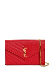Saint Laurent Small Quilted Monogram Leather Bag Bandana Red