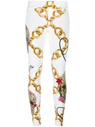 Philipp Plein Chain Print Skinny Trousers White