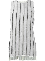 Proenza Schouler Frayed Striped Tank Top Grey