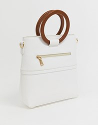 Melie Bianco Ring Handle Tote Bag White