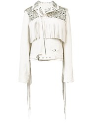 Rodarte Studded Biker Jacket Women Silk Leather M White