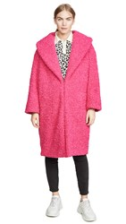 Alice Olivia Ora Faux Fur Long Oversized Collar Coat Bright Pink