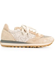 Brunello Cucinelli Panelled Low Top Sneakers Nude And Neutrals