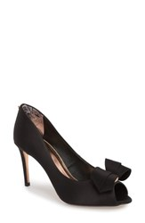 Ted Baker London Vylett Peep Toe Pump Black Satin