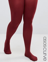 Asos Curve 80 Denier Burgundy Tights Burgundy Red