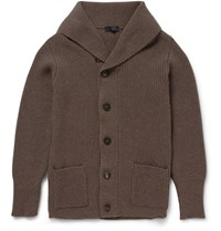 Thom Sweeney Shawl Collar Cashmere Cardigan Brown