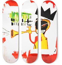 The Skateroom Jean Michel Basquiat Set Of Three Printed Wooden Skateboards White
