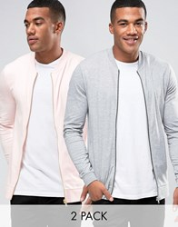 Asos Muscle Fit Jersey Bomber 2 Pack In Pink Grey Marl Floss Grey Marl Multi