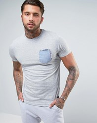 Brave Soul Chambray Check Pocket T Shirt Grey
