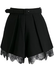 Self Portrait Crepe Pleat Shorts Black