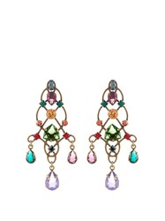 Lanvin Ginger Crystal Embellished Earrings Dark Green