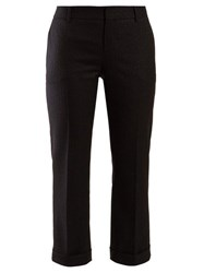 Saint Laurent Metallic Stripe Wool Blend Twill Trousers Black
