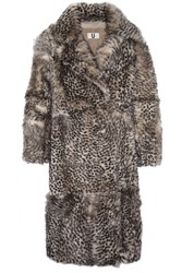 Topshop Unique D'arblay Cheetah Print Shearling Coat
